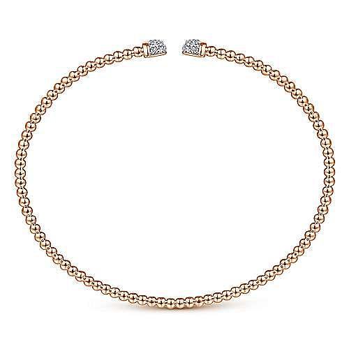 14K Rose Gold Bujukan Bead Cuff Bracelet with Diamond Pavé Caps