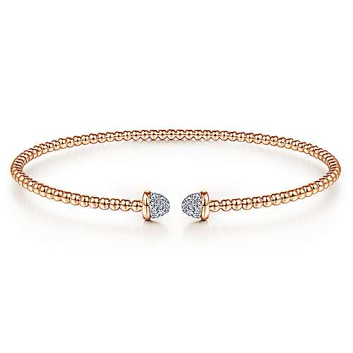 14K Rose Gold Bujukan Bead Cuff Bracelet with Diamond Pavé Caps
