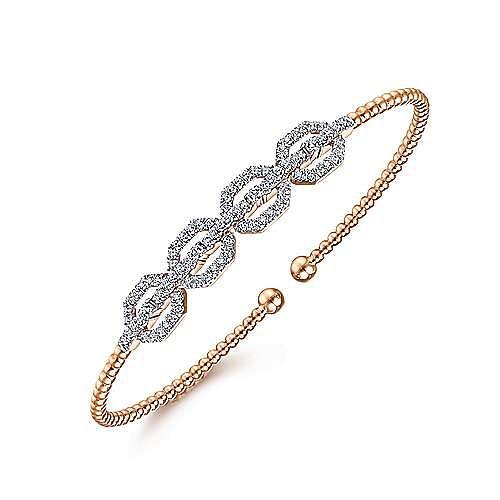 14K Rose Gold Bujukan Bead Cuff Bracelet with Diamond Pavé Links