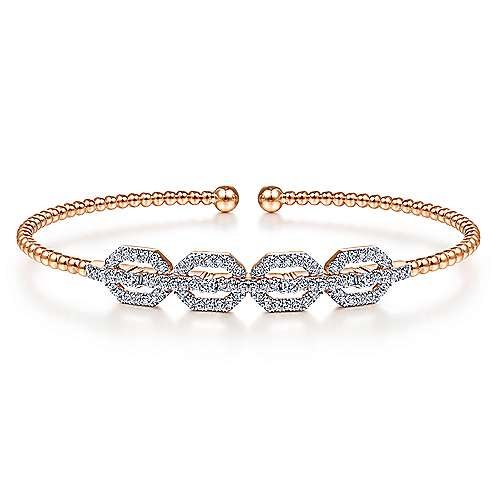 14K Rose Gold Bujukan Bead Cuff Bracelet with Diamond Pavé Links
