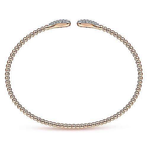 14K Rose Gold Bujukan Bead Cuff Bracelet with Diamond Pavé Teardrops