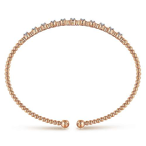 14K Rose Gold Bujukan Bead Cuff Bracelet with Diamond Stations
