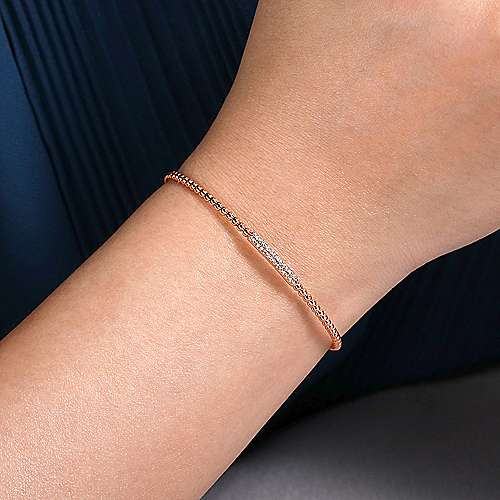 14K Rose Gold Bujukan Bead Cuff Bracelet with Diamonds