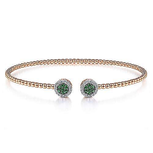 14K Rose Gold Bujukan Bead Cuff Bracelet with Emerald and Diamond Halo Caps