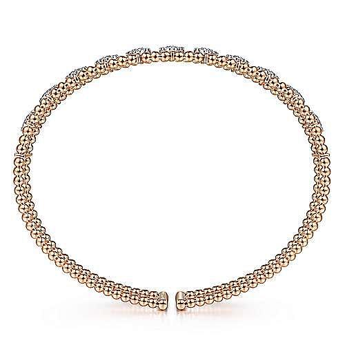 14K Rose Gold Bujukan Bead Cuff Bracelet with Pavé Diamond Connectors