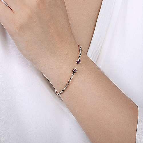 14K Rose Gold Bujukan Bead Cuff Bracelet with Ruby Pavé Caps