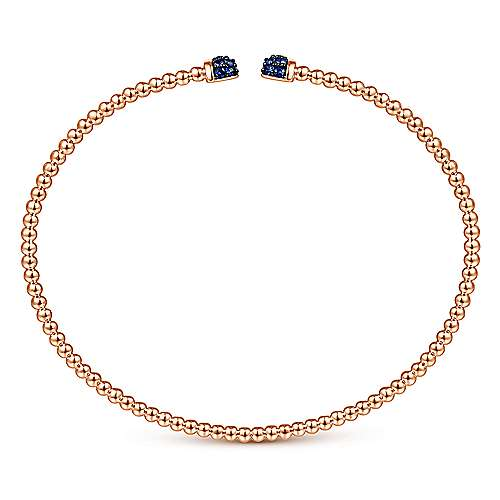 14K Rose Gold Bujukan Bead Cuff Bracelet with Sapphire Pavé Caps