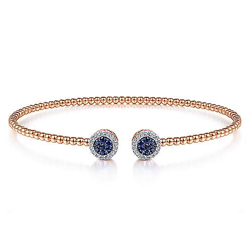 14K Rose Gold Bujukan Bead Cuff Bracelet with Sapphire and Diamond Halo Caps