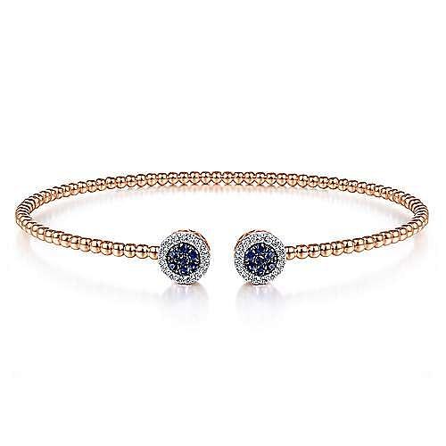 14K Rose Gold Bujukan Bead Cuff Bracelet with Sapphire and Diamond Halo Caps
