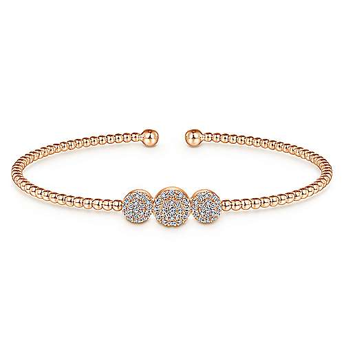 14K Rose Gold Bujukan Bead Cuff Bracelet with Three Pavé Diamond Stations