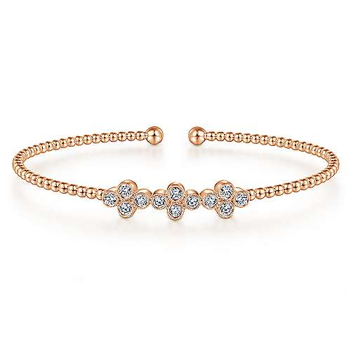 14K Rose Gold Bujukan Bead Cuff Bracelet with Three Quatrefoil Diamond Stations