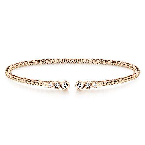 14K Rose Gold Bujukan Bead Split Cuff Bracelet with Bezel Set Diamonds