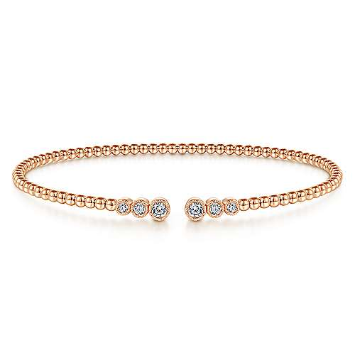 14K Rose Gold Bujukan Bead Split Cuff Bracelet with Bezel Set Diamonds