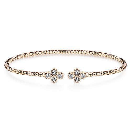 14K Rose Gold Bujukan Bead Split Cuff Bracelet with Quatrefoil Diamond Endcaps