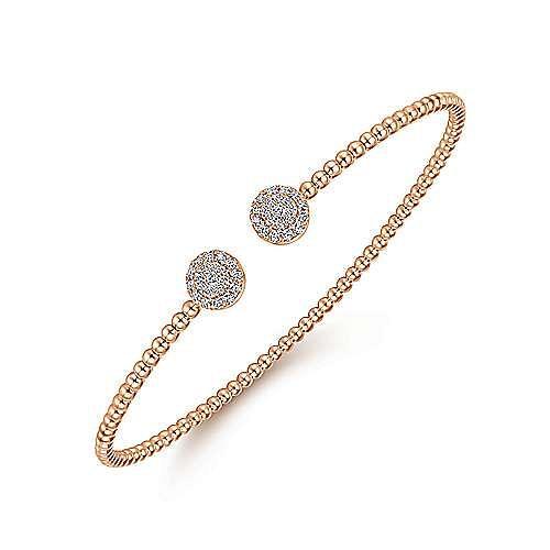 14K Rose Gold Bujukan Bead Split Cuff Bracelet with Round Pavé Diamond Discs