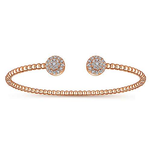 14K Rose Gold Bujukan Bead Split Cuff Bracelet with Round Pavé Diamond Discs