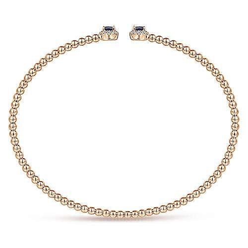 14K Rose Gold Bujukan Bead Split Cuff Bracelet with Sapphire and Diamond