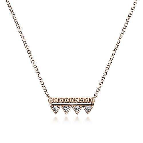 14K Rose Gold Bujukan Beaded Diamond Triangle Bar Necklace