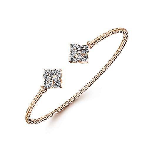 14K Rose Gold Bujukan Split Cuff Bracelet with Diamond Flower Caps