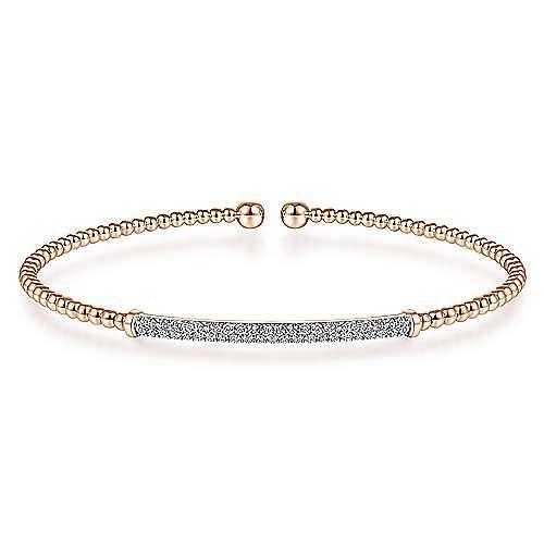 14K Rose Gold Bujukan Split Cuff Bracelet with Diamond Pavé Bar