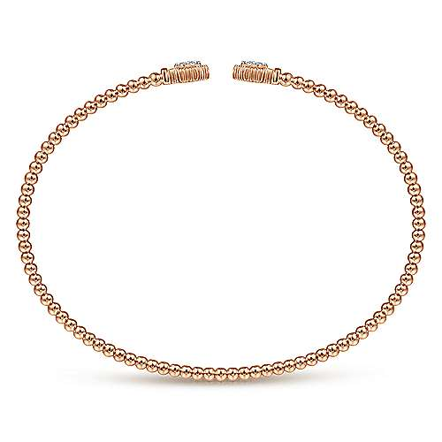 14K Rose Gold Bujukan Split Cuff Bracelet with Diamond Pavé Hexagon Caps