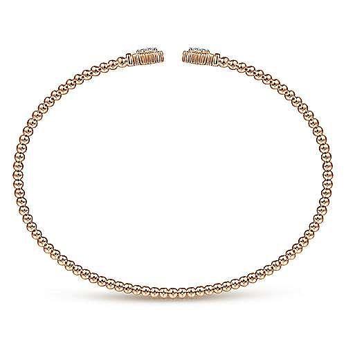 14K Rose Gold Bujukan Split Cuff Bracelet with Diamond Pavé Hexagon Caps