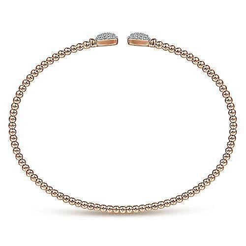 14K Rose Gold Bujukan Split Cuff Bracelet with Pavé Diamond Squares