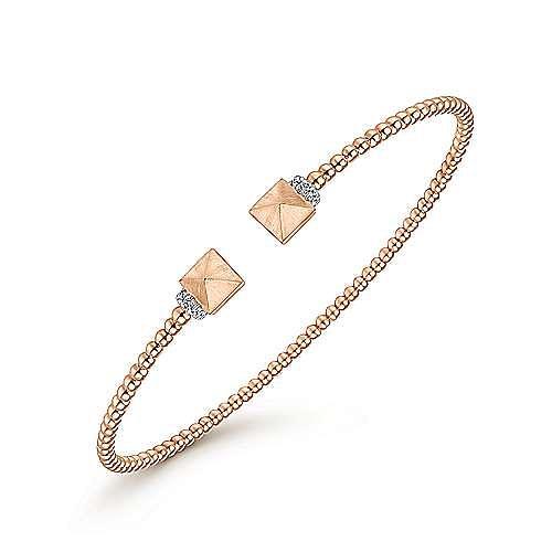 14K Rose Gold Bujukan Split Cuff Bracelet with Pyramid and Diamond Caps