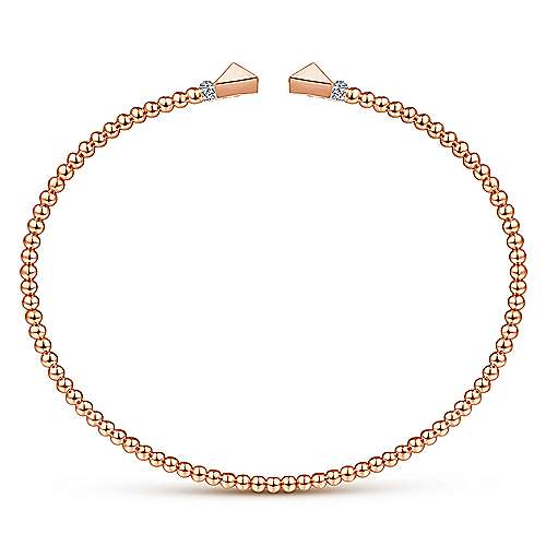 14K Rose Gold Bujukan Split Cuff Bracelet with Pyramid and Diamond Caps