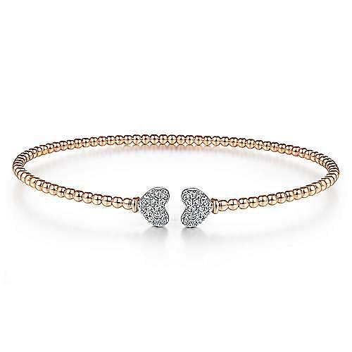 14K Rose Gold Bujukan Split Cuff Bracelet with White Gold Pavé Diamond Hearts