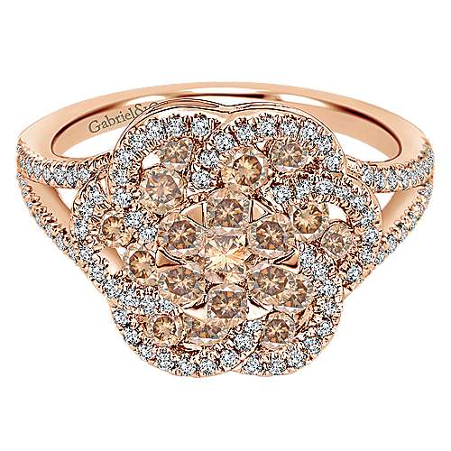 Gabriel - 14K Rose Gold Champagne and White Diamond Fashion Ladies' Ring