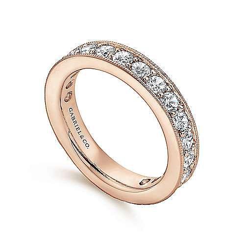 14K Rose Gold Channel Prong Set Diamond Eternity Band