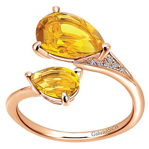 14K Rose Gold Citrine Pear Stones and Diamond Ring