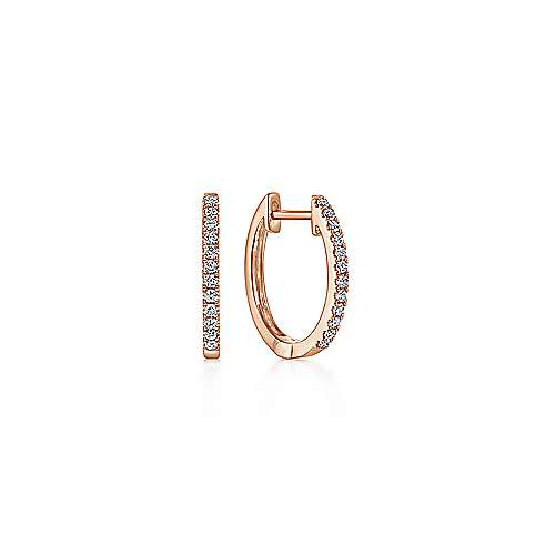 14K Rose Gold Classic 10mm Pavé Diamond Huggies