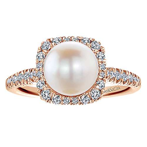 14K Rose Gold Classic Cultured Pearl and Diamond Halo Ring