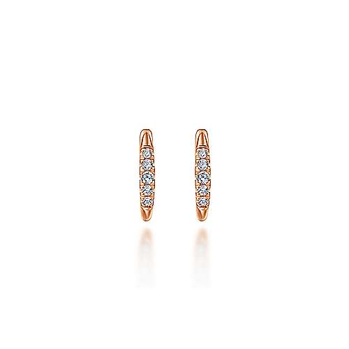 14K Rose Gold Classic Round 15mm Diamond Huggie Earrings