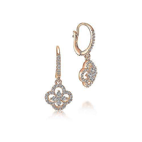 14K Rose Gold Clover Cutout Diamond Drop Earrings