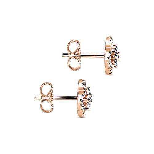 14K Rose Gold Clover Cutout Diamond Stud Earrings