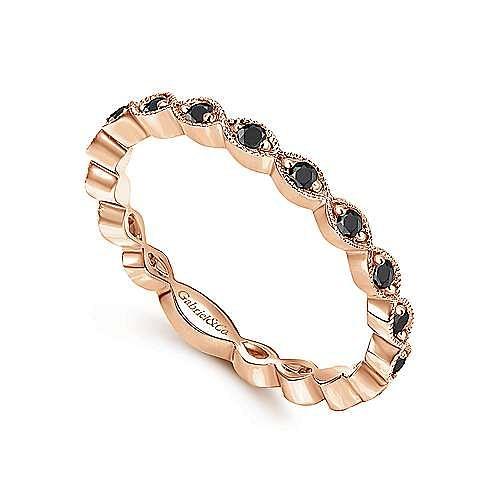 14K Rose Gold Contoured Marquise Station Black Diamond Ring