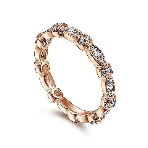 14K Rose Gold Contoured Stackable Diamond Ladies Ring