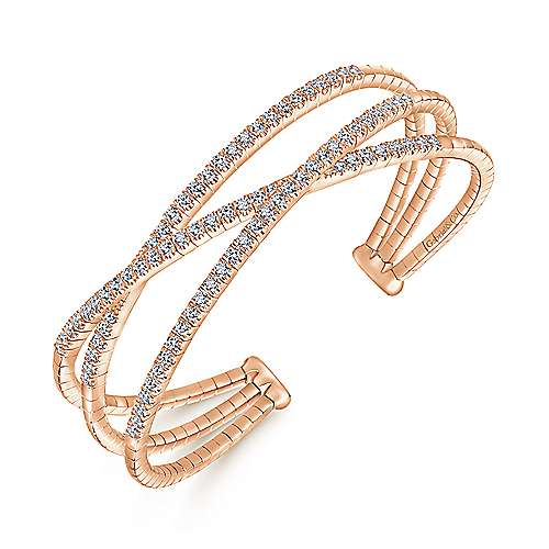 14K Rose Gold Criss Crossing Diamond Cuff