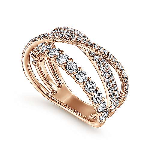 14K Rose Gold Criss Crossing Layered Diamond Ring