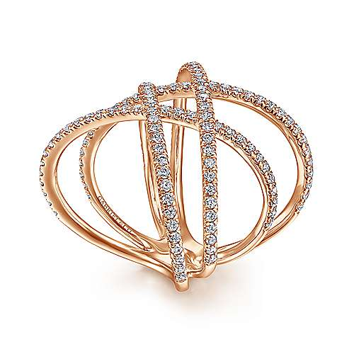14K Rose Gold Criss Crossing Multi Row Wide Diamond Ring