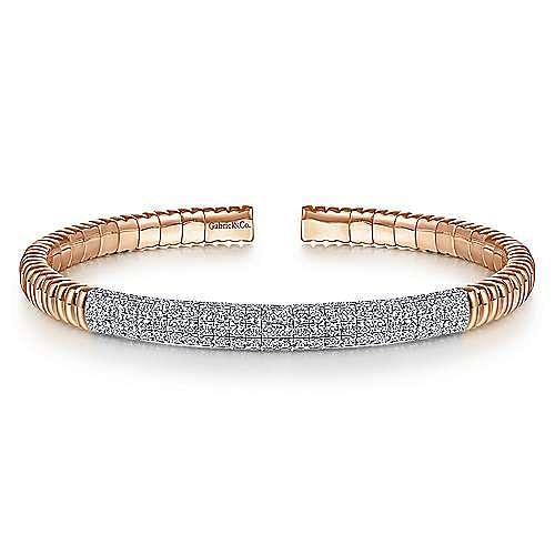 14K Rose Gold Cuff Bracelet with Diamond Pavé Station