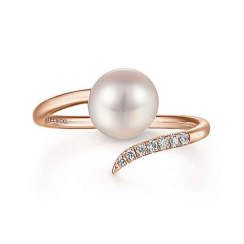 14K Rose Gold Cultured Pearl and Diamond Open Wrap Ring