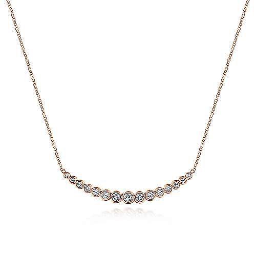 14K Rose Gold Curved Bar Necklace with Bezel Set Round Diamonds