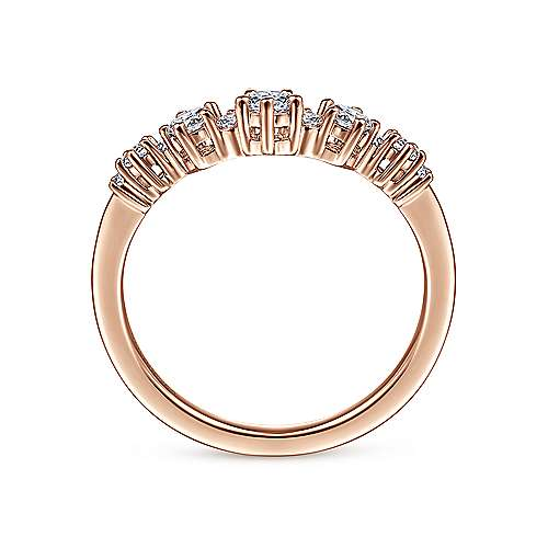 14K Rose Gold Curved Diamond Anniversary Band