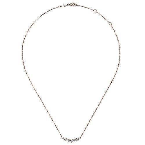 14K Rose Gold Curved Diamond Bar Necklace