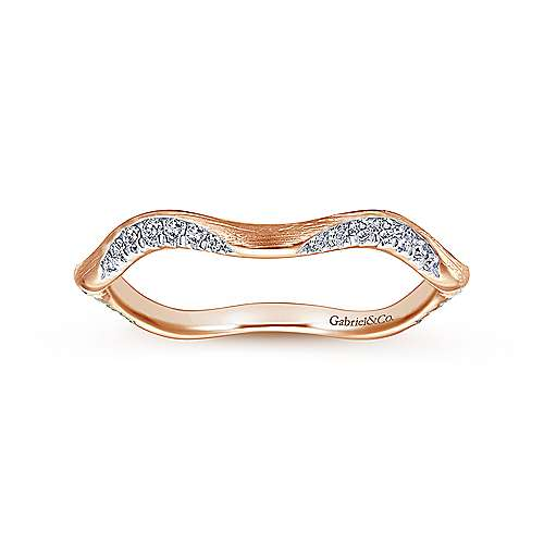 14K Rose Gold Curved Diamond Stackable Ring