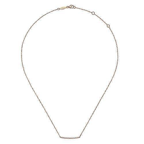 14K Rose Gold Curved Pavé Diamond Bar Necklace